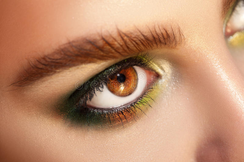 Horizontal macro photo of brown eyes with green colors makeup. Studio shot. close up royalty free stock photo