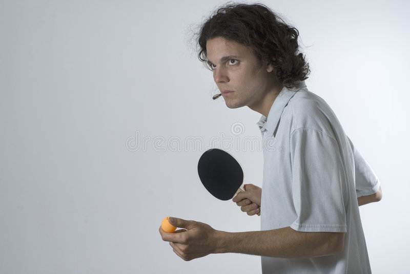 horizontal man ping playing pong στοκ φωτογραφία