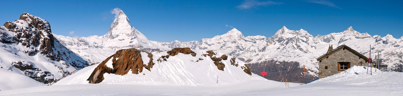 Horizontal maximal de panorama de Matterhorn image stock