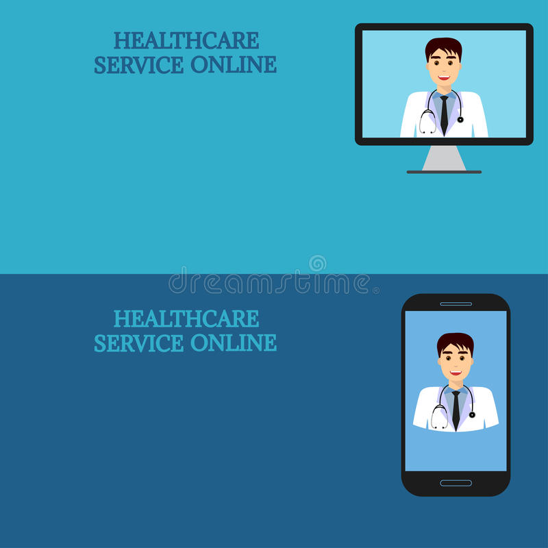 Horizontal medical banners, telemedicine 2. Horizontal medical banners. Medical advice online. Telemedicine. Doctor on computer screen and smartphone. Template stock illustration