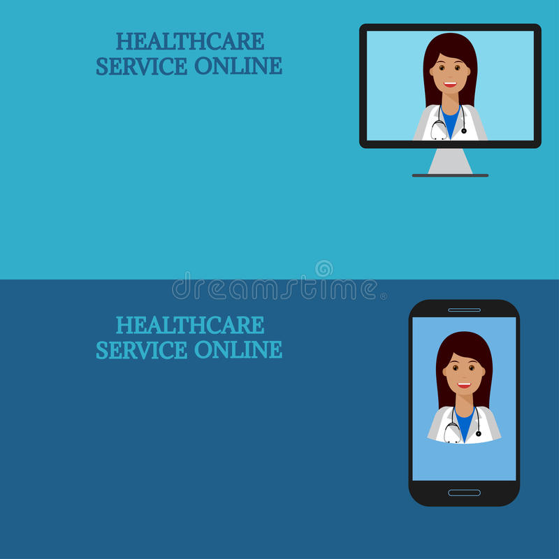 Horizontal medical banners, telemedicine 1. Horizontal medical banners. Medical advice online. Telemedicine. Woman doctor on computer screen and smartphone royalty free illustration
