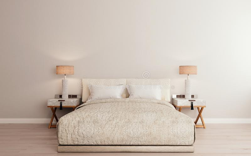 Horizontal mock up poster frame in modern interior background, luxury bed with clean bedding in modern bedroom, Scandinavian style stock illustration