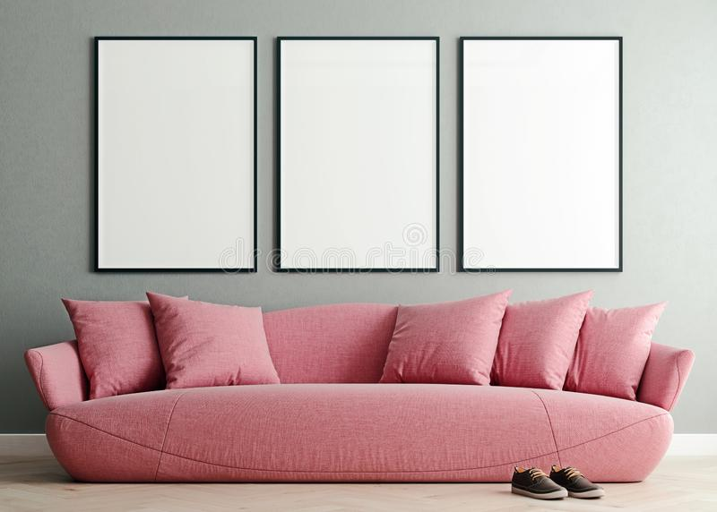 Horizontal mock up poster frame in modern interior background, millennial pink sofa in living room, Scandinavian style royalty free illustration