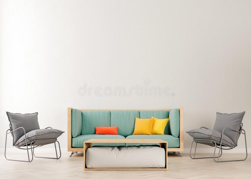 Horizontal mock up poster frame in modern interior background, teal blue sofa with orange and yellow pillows in living room vector illustration