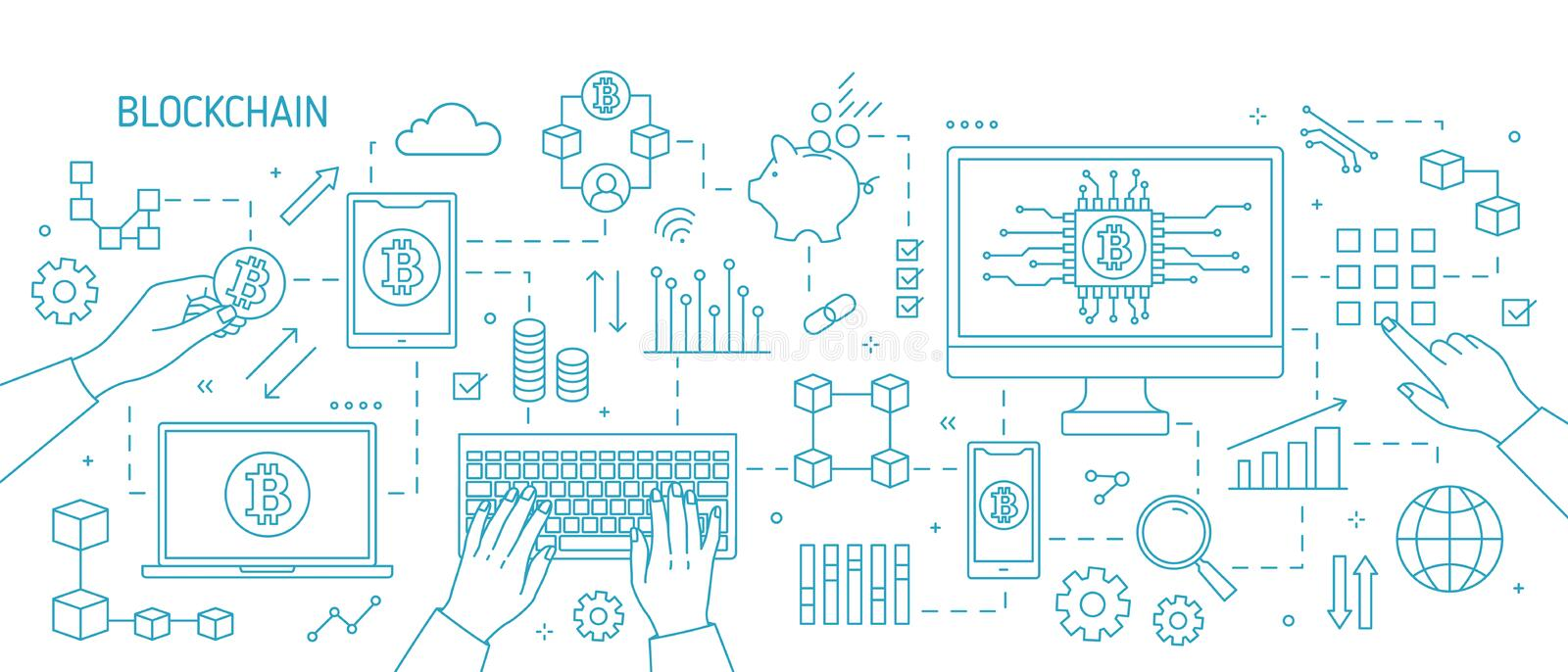 Horizontal monochorme banner with hands, computer, laptop, other electronic devices, bitcoin symbols. Blockchain royalty free illustration