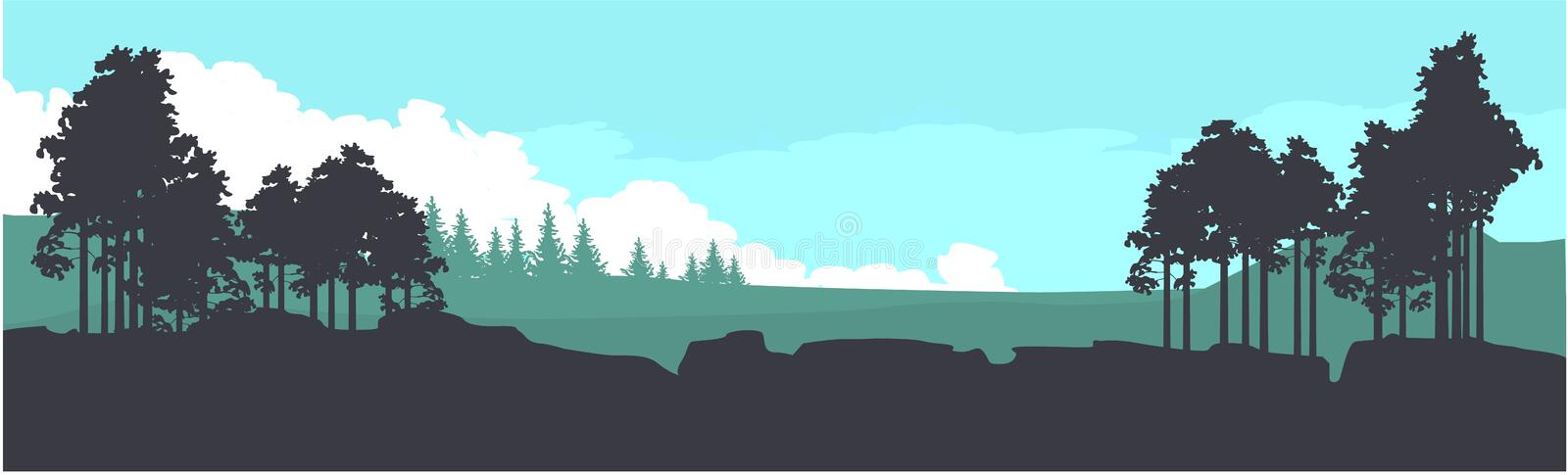 Horizontal mountain forest banner royalty free illustration