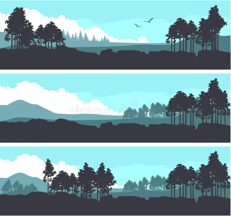 Horizontal mountain forest banner vector illustration