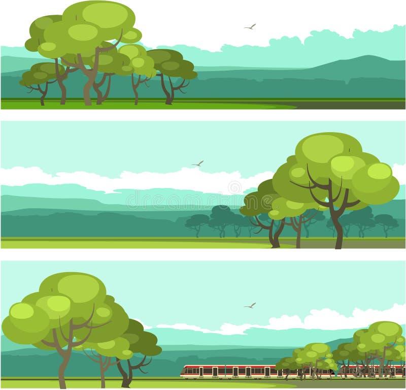 Horizontal mountain forest banner stock illustration