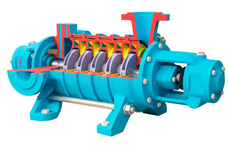 Horizontal multi-section water pump, cross-section. The internal device is shown. royalty free stock image
