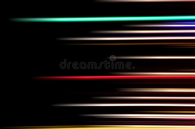 Horizontal multicolor light rays on a black background. Long exposure photo. Abstract, speed, fast, movement, texture, design, bright, art, colorful, wallpaper royalty free stock photos
