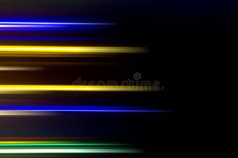 Horizontal multicolor light rays on a black background. Long exposure photo. Abstract, speed, fast, movement, texture, design, bright, art, colorful, wallpaper stock photography