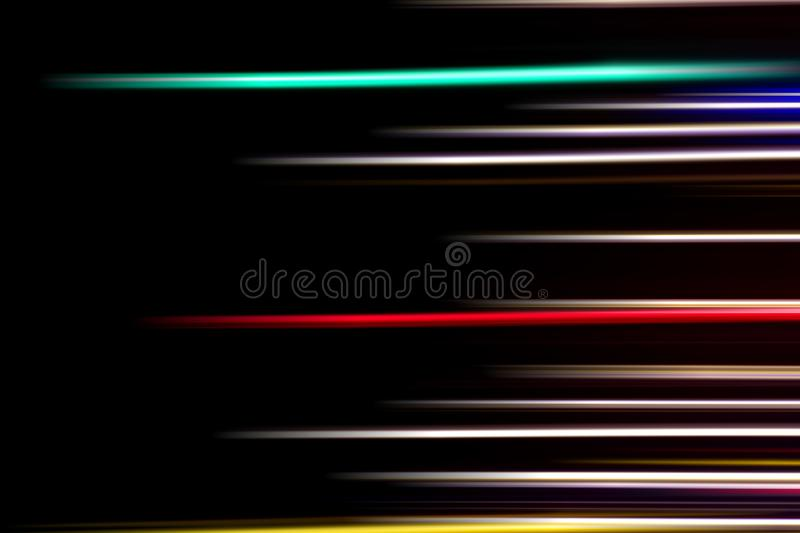 Horizontal multicolor light rays on a black background. Long exposure photo. Abstract, speed, fast, movement, texture, design, bright, art, colorful, wallpaper stock photo