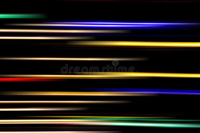 Horizontal multicolor light rays on a black background. Long exposure photo. Abstract, speed, fast, movement, texture, design, bright, art, colorful, wallpaper royalty free stock image