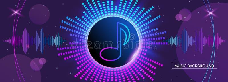 Horizontal music banner. Bright purple futuristic round equalizer. vector illustration