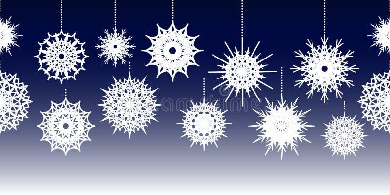 Horizontal nahtlose Grenzverzierung mit hängenden weißen Schneeflocken von verschiedenen Formen und von Größen auf blauem Steigun stock abbildung
