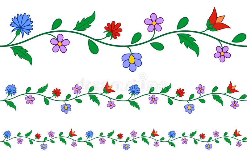 Horizontal nahtloses ungarisches Stickereimuster stock abbildung