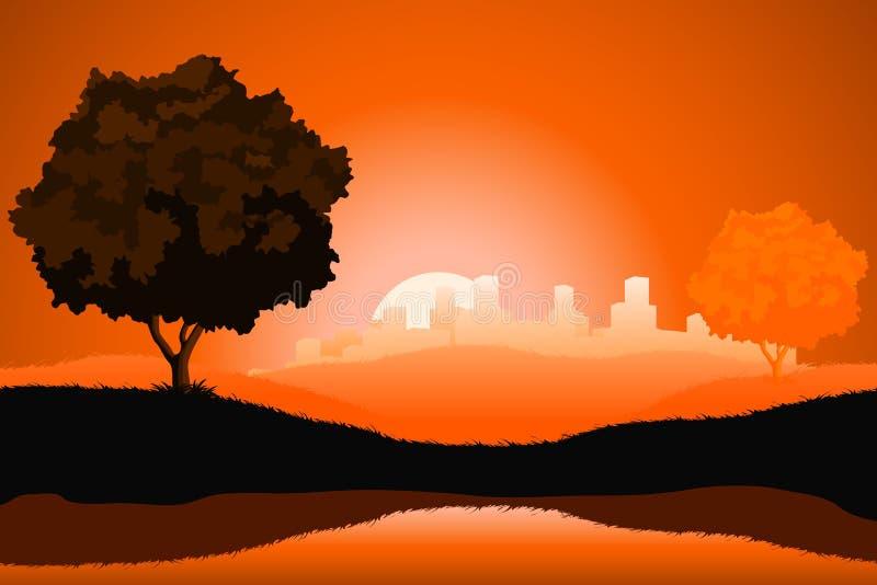Horizontal normal étonnant de lever de soleil illustration stock