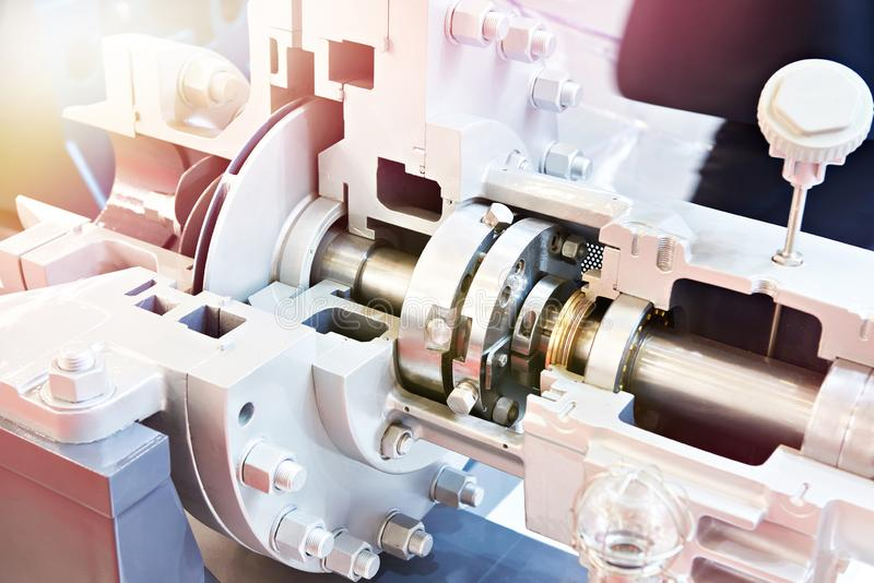 Horizontal oil centrifugal cantilever pump in section. Horizontal oil centrifugal cantilever pump in the section stock photography