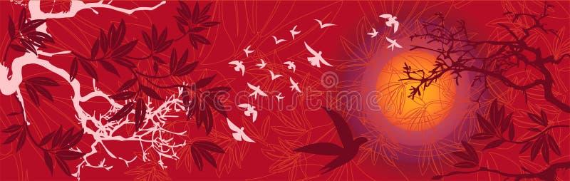 Horizontal oriental de coucher du soleil avec des oiseaux et des arbres illustration de vecteur