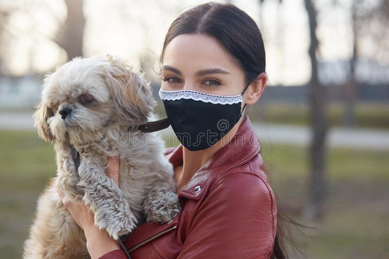 Horizontal outdoor shot of good looking careful brunette in mask being outside during quarantine, having walk with favourite pet,. Holding dog in hands, looking royalty free stock image