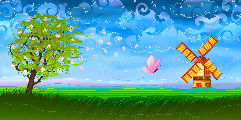 Horizontal pastoral coloré illustration stock