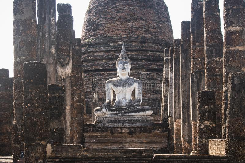 Beautiful and ancient Buddha in the ruins of the Wat Sa Si temple, in Sukhothai Historical Park. In Sukhothai, Thailand royalty free stock photography