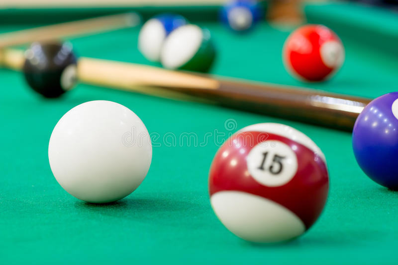Horizontal Photo of billiard balls. On green baize royalty free stock image