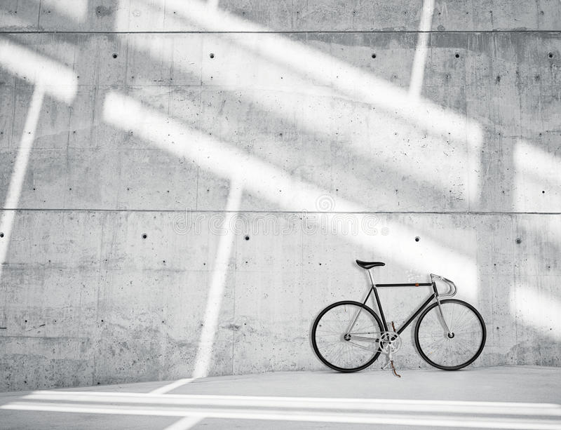 Horizontal Photo Blank Grungy Smooth Bare Concrete Wall in Modern Loft Studio with Classic bike. Soft Sunrays Reflecting. Horizontal Photo Blank Grungy Smooth stock photo