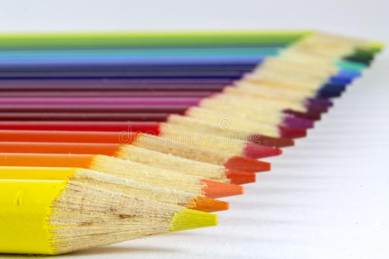Horizontal photo of colored pencils. Photo of Horizontal photo of colored pencils royalty free stock photo
