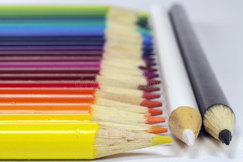 Horizontal photo of colored pencils. Photo of Horizontal photo of colored pencils stock photo