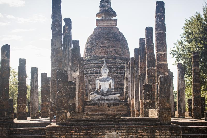 Ruins of the Wat Sa Si temple with beautiful and ancient Buddha, in Sukhothai Historical Park. In Sukhothai, Thailand. Horizontal photo of the ruins of the Wat stock photo