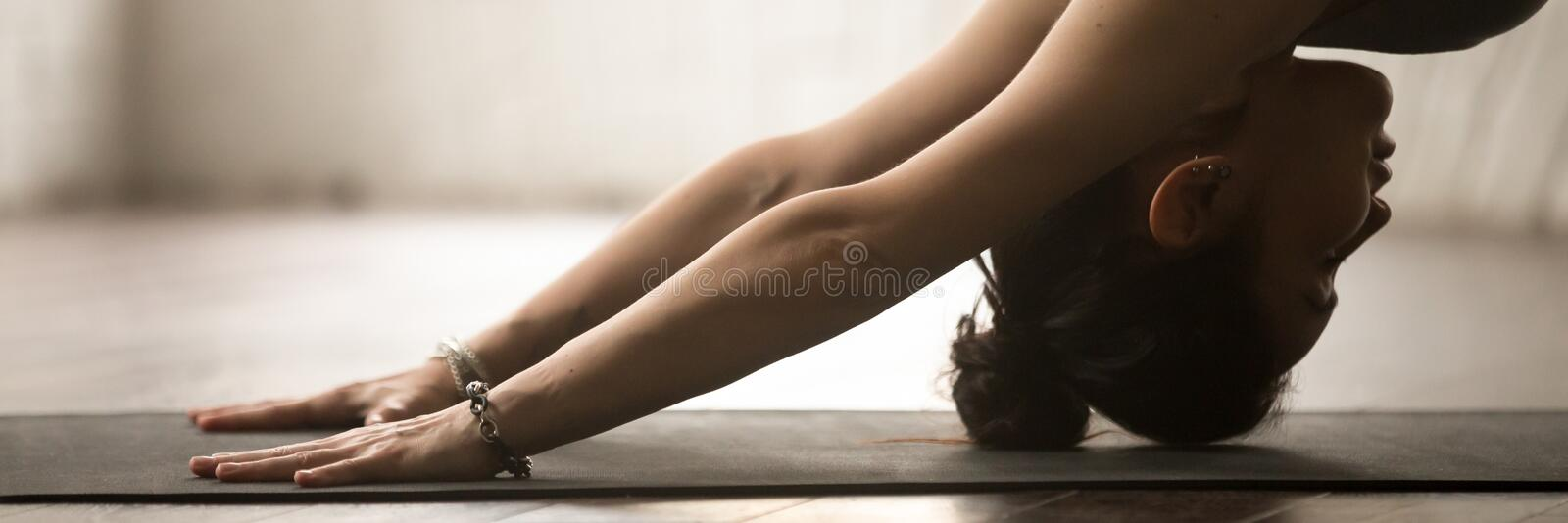 Horizontal photo sportive woman practice yoga doing downward facing dog royalty free stock photos