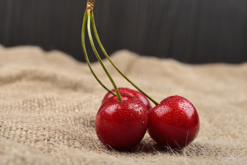 Horizontal photo of tree red cherries with water drops which are together on one green branch on jute on a table. Selective. Focus. Lights and shadows stock photography