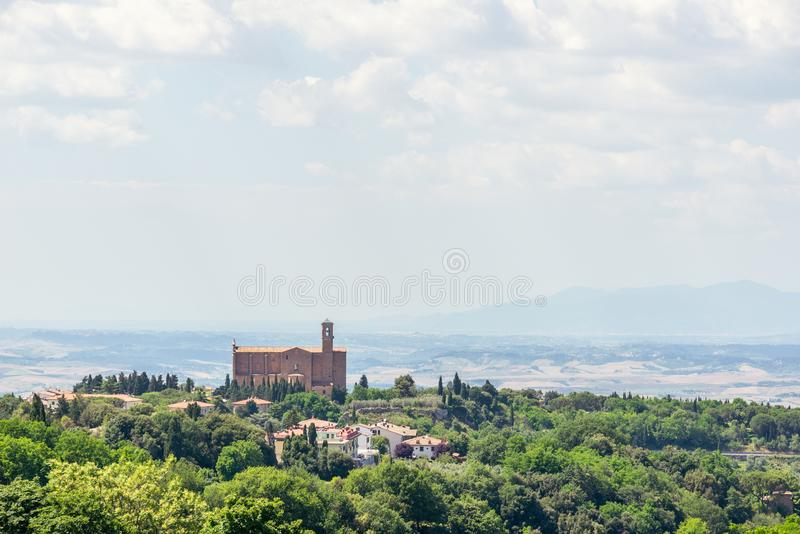 Beatiful view to tuscany landscape with ancient church stock images