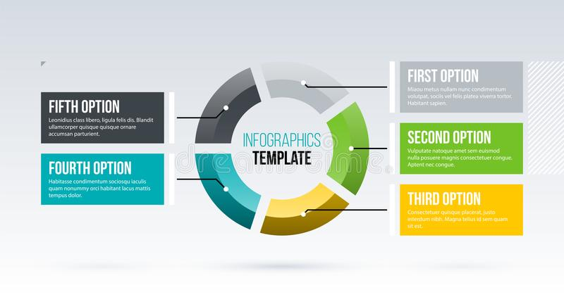 Horizontal pie infographics template with five segments in clean business style. On white background vector illustration