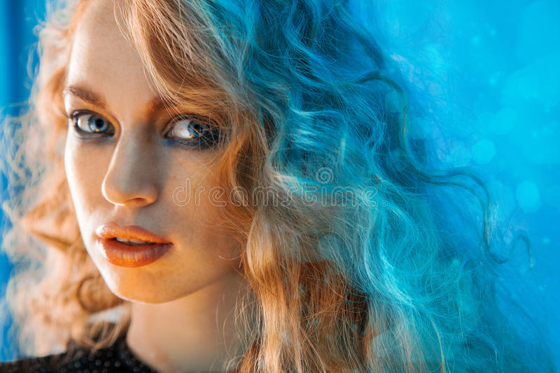 Horizontal portrait of beauty female with curly hair stock photos