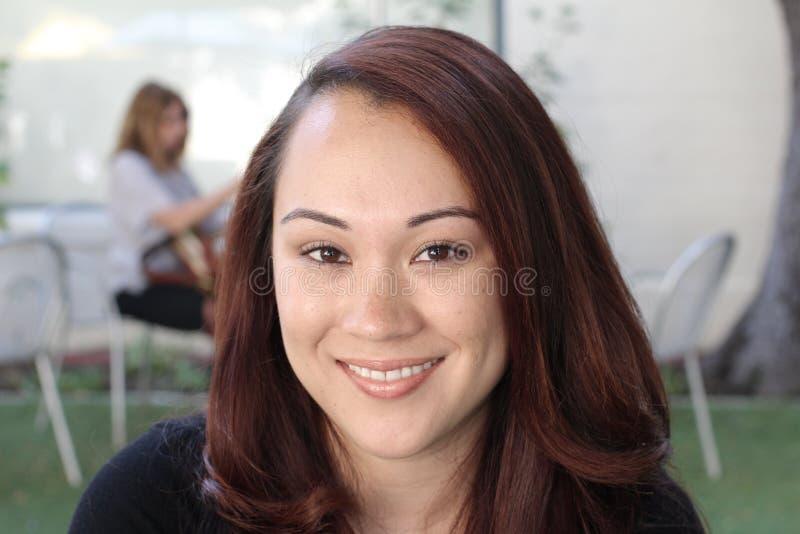Horizontal portrait of cute Asian woman stock photo