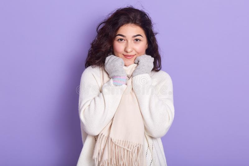 Horizontal portrait of good looking attractive young brunette putting hands on scarf, looking directly at camera, wearing white stock photography