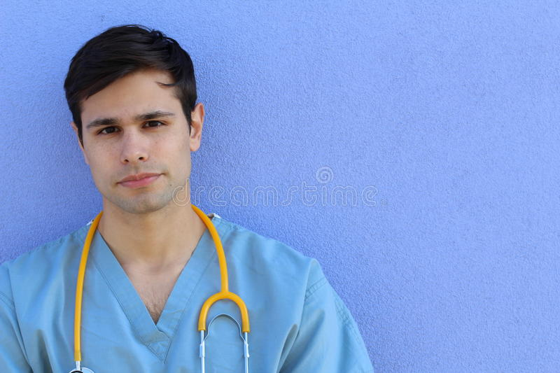 Horizontal portrait of handsome healthy looking medical professional stock photography