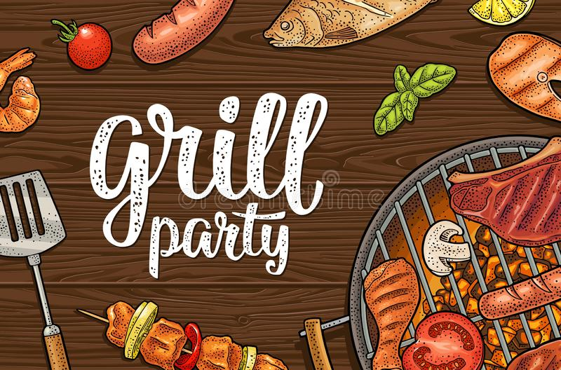 Horizontal poster with bbq. Grill party calligraphic handwriting lettering. Bbq horizontal poster. Grill party calligraphic handwriting lettering. Shrimp, tomato royalty free illustration