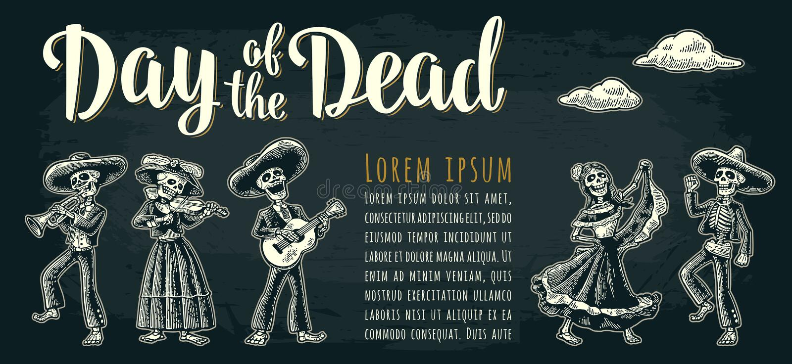 Horizontal poster for Dia de los Muertos. Day of the Dead lettering. stock illustration