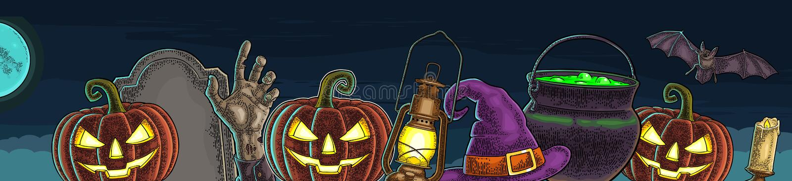 Horizontal poster with Happy Halloween calligraphy lettering and engraving. Horizontal poster for Halloween. Bat, lamp, moon, witch hat, magic pot, pumpkin scary vector illustration