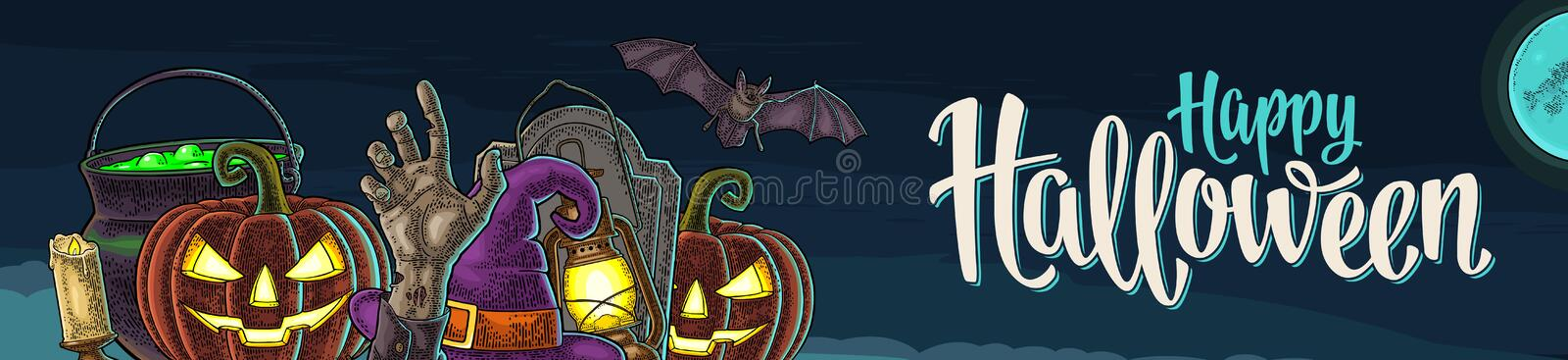 Horizontal poster with Happy Halloween calligraphy lettering and engraving. Horizontal poster with Happy Halloween handwriting calligraphy lettering. Bat, lamp stock illustration