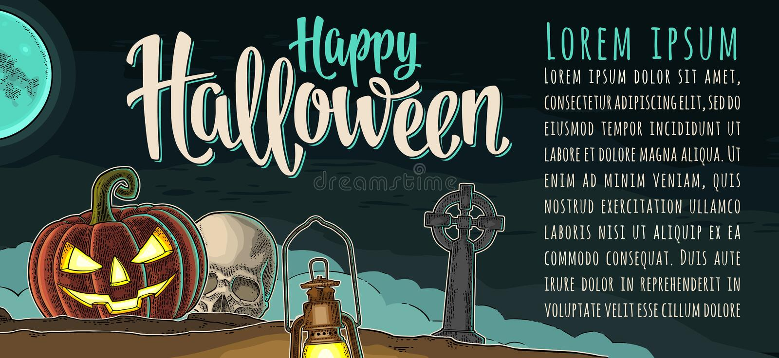 Horizontal poster with Happy Halloween calligraphy lettering. Vector engraving royalty free illustration