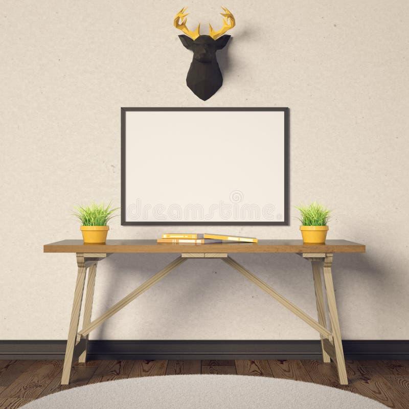 Horizontal poster mockup and deer stock illustration