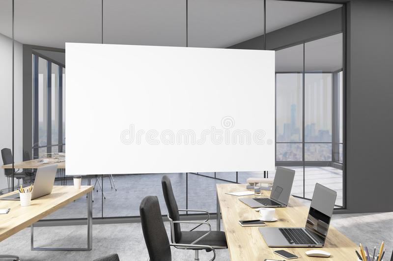 Horizontal poster in office with rows of tables and CEO study stock image