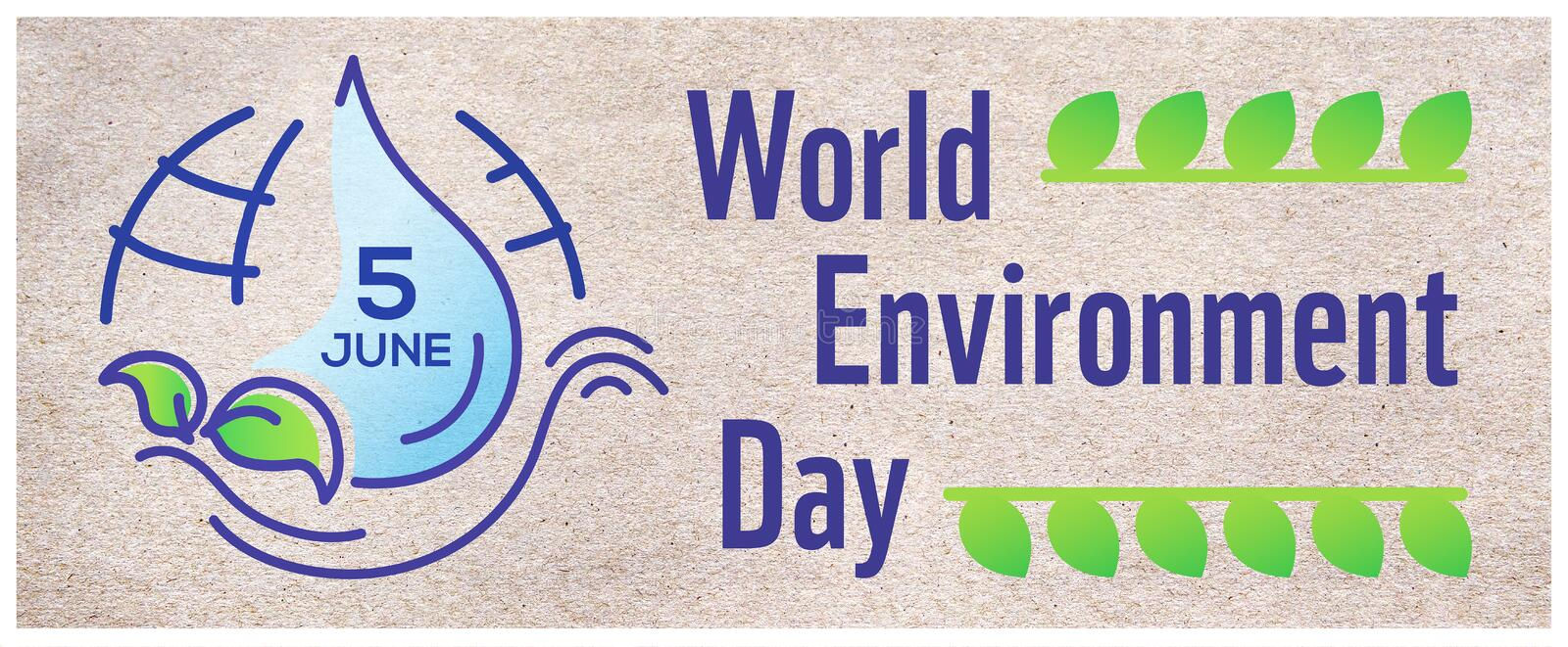 Horizontal poster for World environment day with line illustration, lettering and earth on craft paper background. Banner. Website cover vector illustration