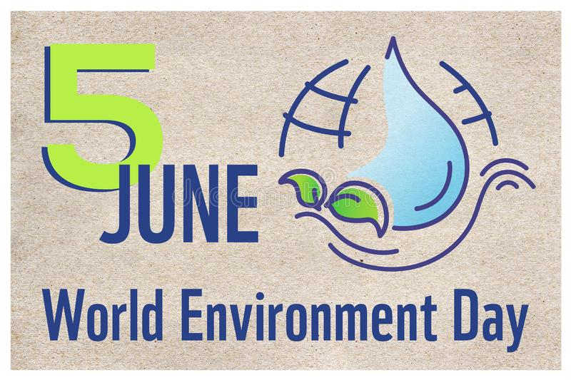 Horizontal poster for World environment day with line illustration, lettering and earth on craft paper background. Banner, website. Cover royalty free illustration