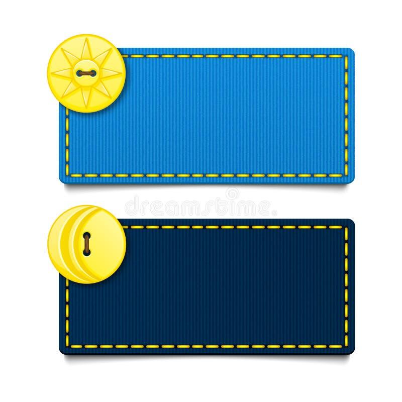 Horizontal rectangular blue fabric banners. Vector illustration. royalty free illustration