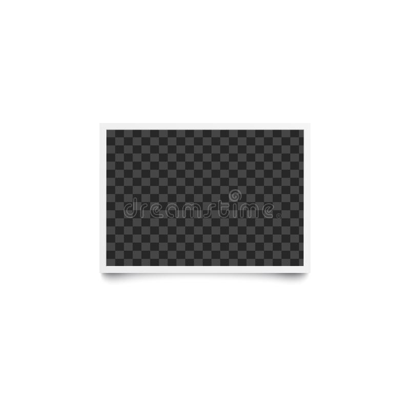 Horizontal rectangular checkered empty template and photo frame in realistic style. royalty free illustration